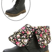 Gwen-03hi Black Floral Cuff Combat Boots and Shop Boots at MakeMeChic.com