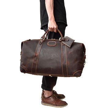 Men Thick Crazy horse leather travel bag Cow leather duffel travel bag vintage genuine leather luggage tote messenger