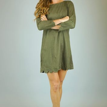 Scallop Hem Faux Suede Shift Dress