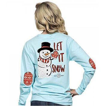 c4cce2f6389 Simply Southern Preppy Collection Let it Snow Long Sleeve T-Shirt in Marine