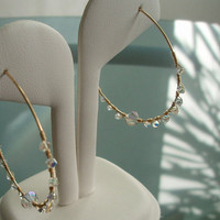 Free Shipping - Gold Filled Hoop Earrings Wire Wrapped with Swarovski Crystals, Wire Hoops, Swarovski Hoop Earrings