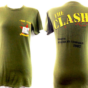 Vintage 80s THE CLASH Combat Rock Know Your Rights North American Campaign 82 Tour Rare T Shirt Sz M