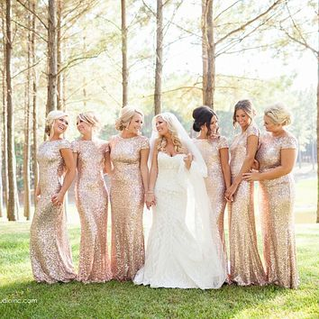 Hot Sparkly Bridesmaid Dress Long with Short Cap Sleeve Mermaid Scoop Backless Bling Bling Sequins Bridemaid Dress Long