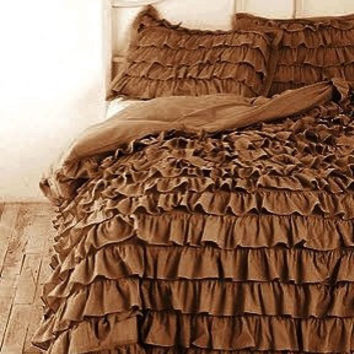 Ruffle Duvet Cover King/California King CHOCOLATE Color Egyptian Cotton Bedding 1000TC