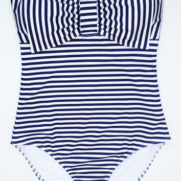 Navy & White Stripe Lycra Swim Fabric Tank with Bow