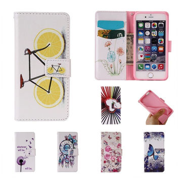For Apple iPhone 6s 6 Plus 5 5s SE Case Fashion Pattern Wallet Cover Case For iPhone 6 S PU Leather + Silicon Coque Funda Capa