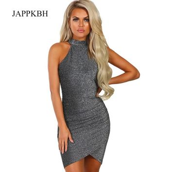 Jappkbh Summer Spring Glitter Bodycon Dress Women Elegant Solid Party Dresses Sexy Halter Clothes Club Sequin Mini Dress Vestido Y190410