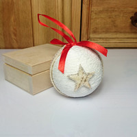 Beige white and red christmas tree ornament cotton cord birch bark stars decoration natural rustic decor ribbon cozy cottage