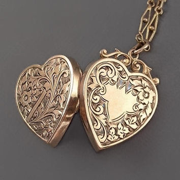 "Antique Victorian HEART Locket Necklace ROSE Gold Double-Sided Scrollwork Forget-me-not Flowers 18"" Filigree Chain c.1880's, Gift for Her"