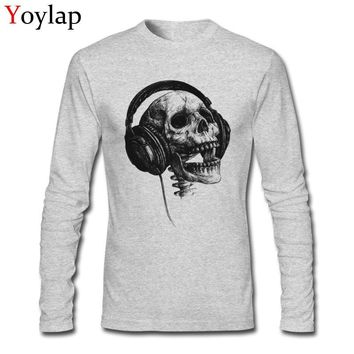 Retro Skull Print Music Forever Men Top T-shirt Cotton Fabric Tees Long Sleeve Stylish Design