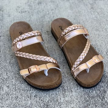 Braided Strap Rose Gold Footbed Sandals