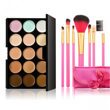 15-color Concealer + 7pcs Professional Multifunctional Cosmetic Makeup Brushes Set Gift + Free Shipping + Big Discount
