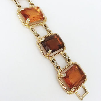 Chunky Square Amber Glass Links Bracelet Orange Brown Vintage Sarah Coventry Large Rhinestones Prong Set Gold Tone Rope Style Links