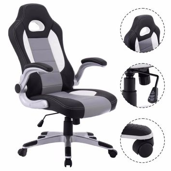 Leather Executive Racing Style Bucket Seat Ergonomic Computer Gaming Chair Swivel Armchair