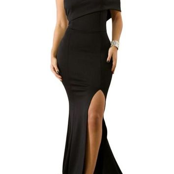 Fashion Black Off The Shoulder One Sleeve Slit Maxi Party Prom Dress
