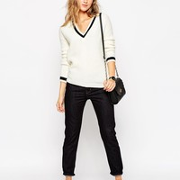 ASOS TALL Cricket Sweater With Deep V-Neck