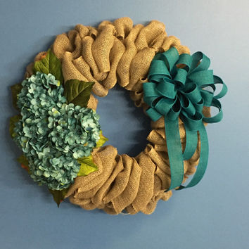Year round Wreath, Everyday Wreath, Burlap Wreath, Spring Wreath, Teal and Hydrangea Wreath, Front Door Decor