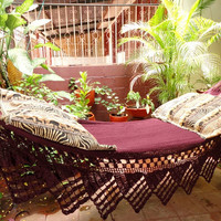 One Color Red Wine Single Hammock HandWoven Natural by hamanica