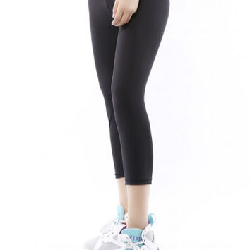 Fashion Women Elastic Waist Paneled Yoga Sports Crop Leggings