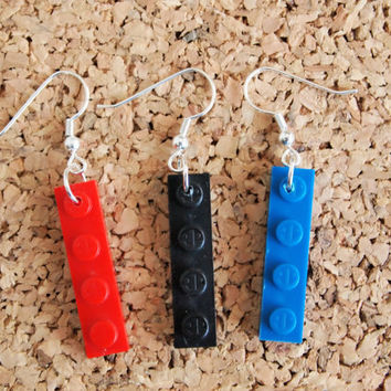 Lego Dangle Earrings - upcycled geekery fish hook jewelry red blue black brick repurpose silver findings free shipping to usa