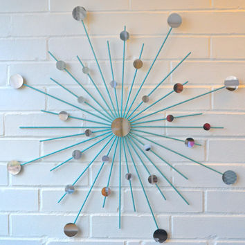 Modern Metal Wall Art Mirror Mod Style Star Starburst Sun Sunburst in Sparkling Teal Turquoise Many Colors Available