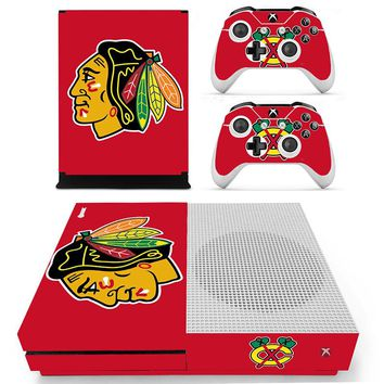 HOMEREALLY For Xbox one s skin Chicago Blackhawks Decal HD PVC Sticker Cover for Xbox One Slim Console and 2 Controller Skin