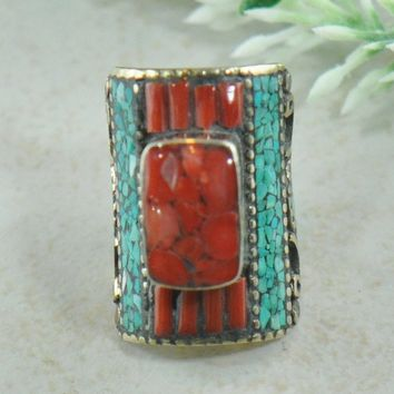 Sonam Turquoise and Coral Mosaic Tibetan Silver Ring