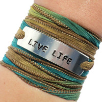 Live Life Silk Wrap Bracelet Yoga Inspirational Jewelry With Meaning Words Motivation Engraved Healing Earthy Unique Gift For Her or Him C3