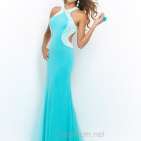High Neck Blush Prom Dress 9922
