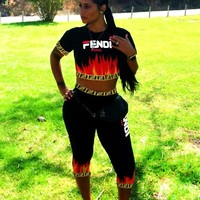 Fendi Summer New Fashion Letter Flame Print Sports Leisure Two Piece Suit Top And Pants  Black