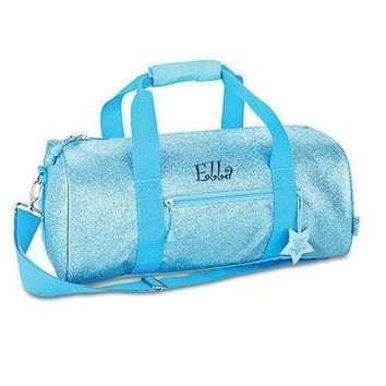 Personalized Kids Glitter Duffle Bag - Turquoise (Pack of 1)