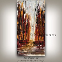 """Painting, 48"""" Skyline Cityscape Modern Art, Building Cityscape Wall Art Oil Painting, Abstract Canvas Art, Large Artwork, By Nandita"""