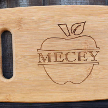 Personalized cutting board,  teacher gift, Christmas gift,  housewarming gift, wood cutting board, with split apple design