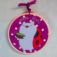 "Catbug Bravest Warriors 6"" Embroidery Hoop SUGAR PEAS Wall Art"