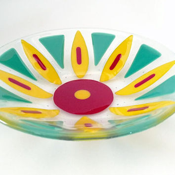 Fused Glass Flower Bowl - Fused Glass Dish - Fruit Bowl - Decorative  Bowl - Serving Bowl - Red and Yellow Bowl - Housewarming Gift - Modern