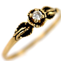 Engagement Ring 14k Gold & Genuine Diamond Rose Design Vintage