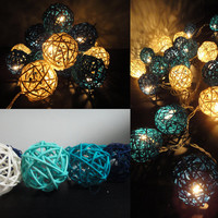 35 Mixed Sky Rattan Tone Handmade Rattan Balls Fairy String Lights Party Patio Wedding Floor Table or Hanging Gift Home Decoration