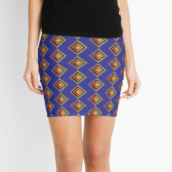 'Geometric Blue and Gold Shapes Pattern' Mini Skirt by epoliveira