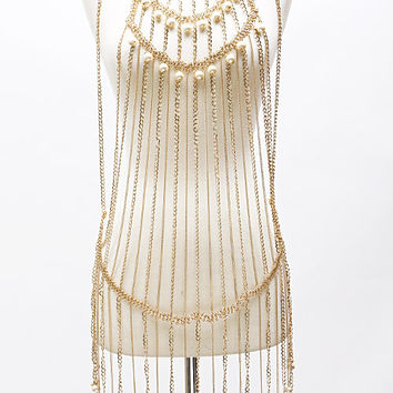 """32"""" pearl body chain celebrity basketball wives bib collar necklace bridal"""