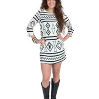 Karlie Women's White with Large Black Tribal Print 3/4 Sleeve Shirt Dress