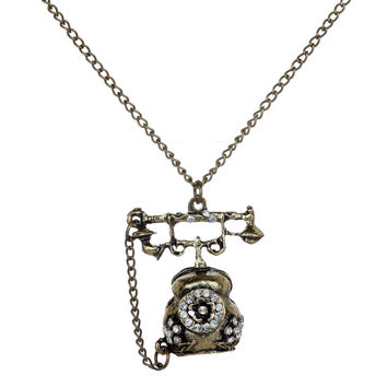Antique Early Telephone Necklace Pendant