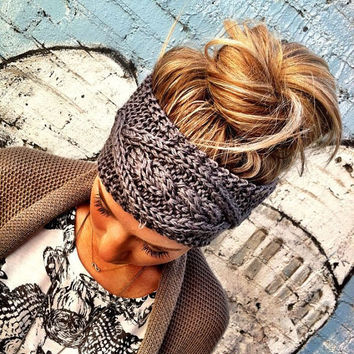 Grey Plain Cable Knitted Headband Stretchy Head Band Ear Warmer Hair Bands Hair Coverings