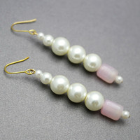 Pink Quartz And Faux Pearl Long Earrings