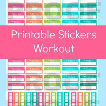 Fitness Stickers, Erin Condren Planner Stickers, Workout Tracker, Printable Planner Stickers, Checklist Stickers, Life Planner