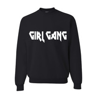 Girl Gang Soft Black Rock and Roll Pullover Sweatshirt