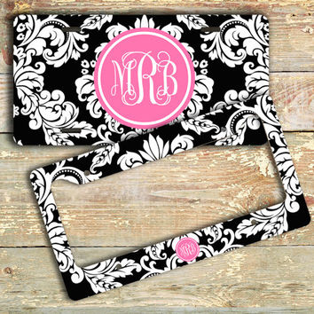 Pretty vanity license plate or frame - Black white damask hot pink initials - Monogrammed custom car tag pretty bicycle license plate (9759)