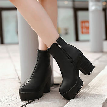 Hot New Women chunky Heel round toes platform punk Ankle side zipper Roman boots