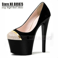 7 Inch Fashion Platform women Pumps Sexy Clubbing High Heels 17cm Leather Newest Model Round Toe Ladies Glitter high heel shoes = 1945656516