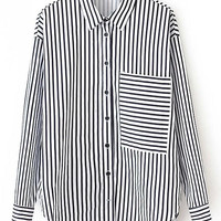 Black White Vertical Stripe Pocket Blouse