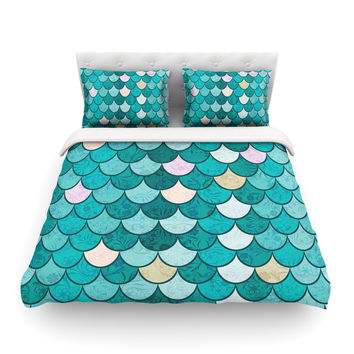"""Famenxt """"Mermaid Fish Scales"""" Teal Nautical Illustration Featherweight Duvet Cover"""